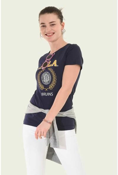 Ucla Lacivert Bisiklet Yaka Baskılı Kadın T-Shirt
