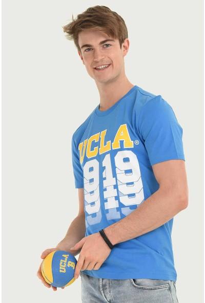 Ucla Mavi Bisiklet Yaka Baskılı Erkek T-Shirt