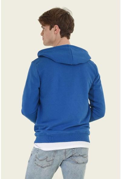 Ucla Mavi Kapüşonlu Ve Fermuarlı Aplikeli Erkek Sweatshirt