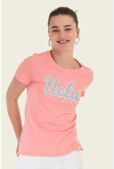 Ucla Pembe Bisiklet Yaka Baskılı Kadın T-Shirt