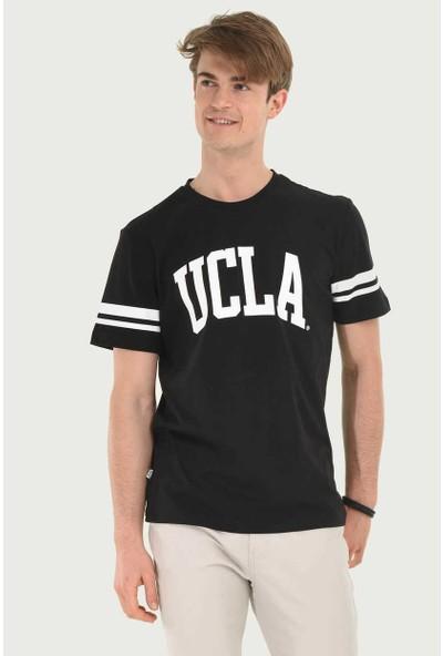 Ucla Siyah Bisiklet Yaka Baskılı Erkek T-Shirt