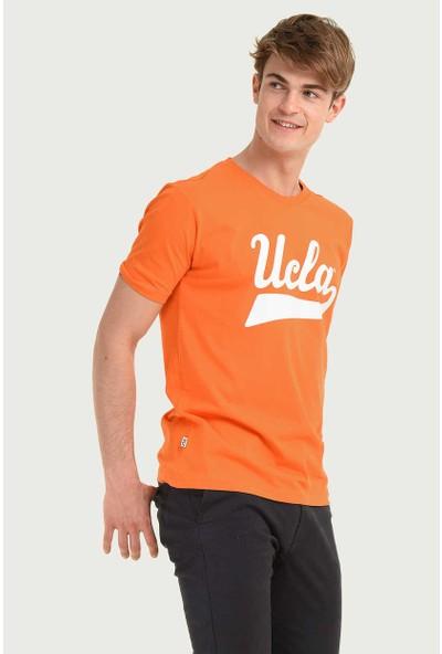 Ucla Turuncu Bisiklet Yaka Baskılı Erkek T-Shirt