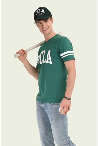 Ucla Yeşil Bisiklet Yaka Baskılı Erkek T-Shirt