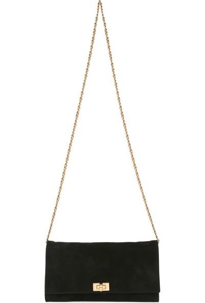 Bellezza By H El Yapımı Gerçek Süet Siyah Renk Çapraz Da Kullanılabilen El Çantası