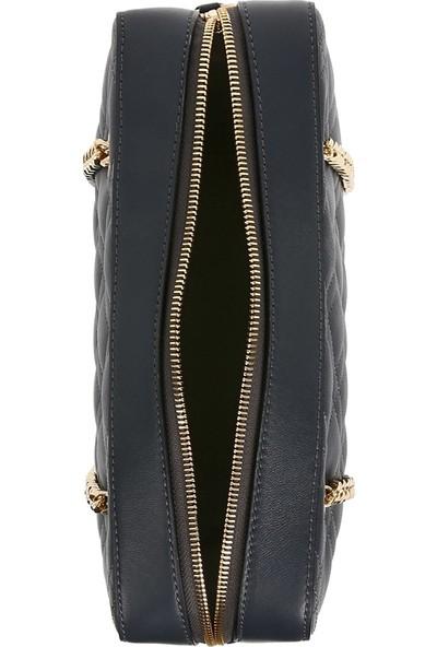 Bellezza By H El Yapımı Gerçek Koyun Derisi Kapitone Antrasit Renk Omuzda Veya Uzun Askısıyla Çapraz Olarak Kullanılabilen Çanta