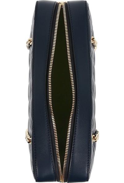 Bellezza By H El Yapımı Gerçek Koyun Derisi Kapitone Lacivert Renk Omuzda Veya Uzun Askısıyla Çapraz Olarak Kullanılabilen Çanta