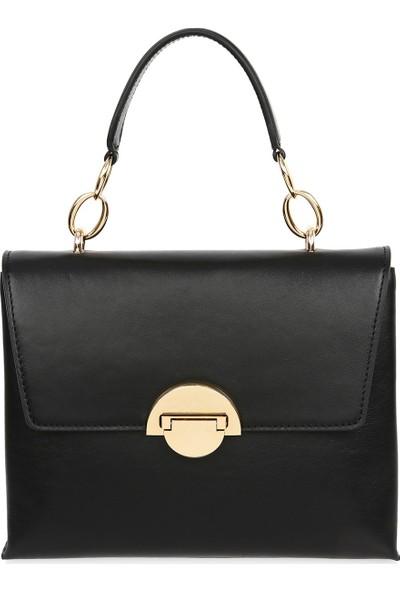 Bellezza By H El Yapımı Gerçek Napa Deri Siyah Renk El ve Uzun Askısıyla Çapraz Olarak Kullanılabilen Çanta