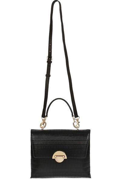 Bellezza By H El Yapımı Gerçek Deri Krokodil Baskı Siyah Renk El ve Uzun Askısıyla Çapraz Olarak Kullanılabilen Çanta