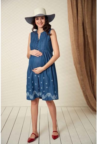 Görsin Nakış Detaylı Hamile Kot Elbise