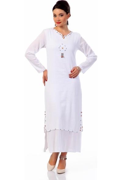 Eliş Şile Bezi Uzun Kol Boncuklu Elbise