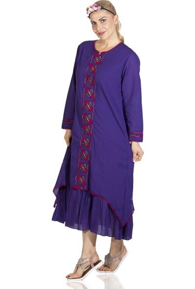 Eliş Şile Bezi Uzun Kol Petunya Elbise