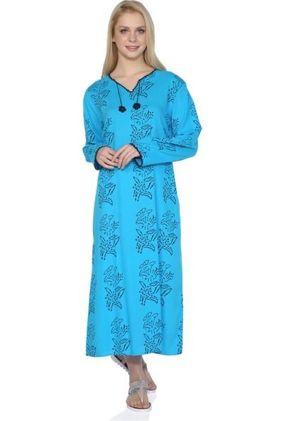 Eliş Şile Bezi Uzun Kol Baskılı Elbise Zambak Desen