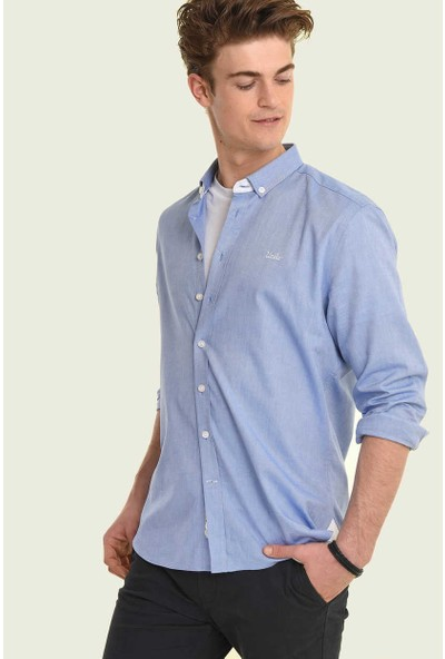 Ucla Mavi Oxford Nakışlı Erkek Gömlek