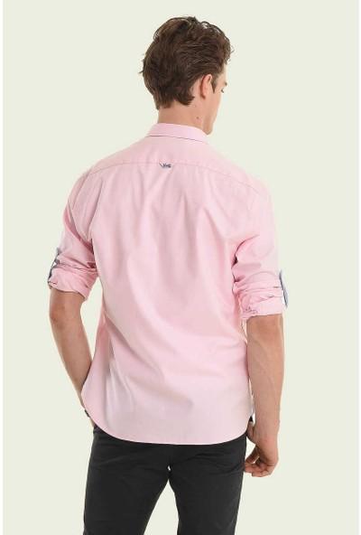 Ucla Pembe Oxford Nakışlı Erkek Gömlek