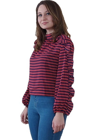 Boutiquen Fırfırlı Uzun Kol Şifon Bluz Xl