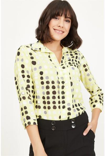Lafaba Kadın Sarı Puantiyeli Bluz