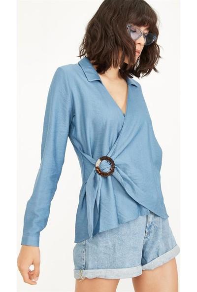 Lafaba Kadın İndigo Yandan Tokalı Keten Bluz