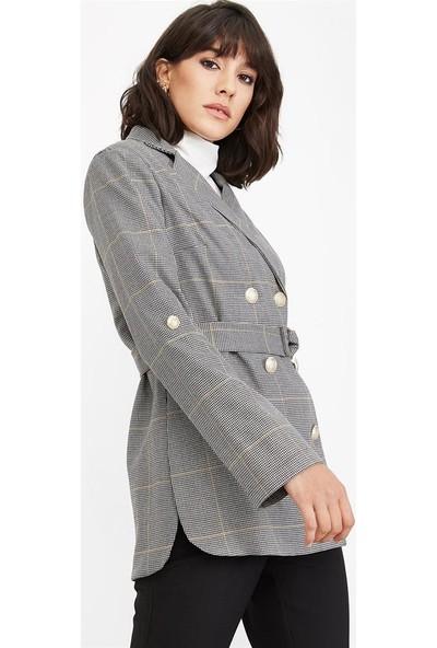 Lafaba Kadın Gri Büyük Ekose Desenli Ceket
