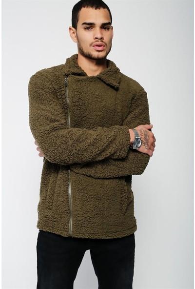 Lafaba Erkek Haki Fermuarlı Peluş Ceket