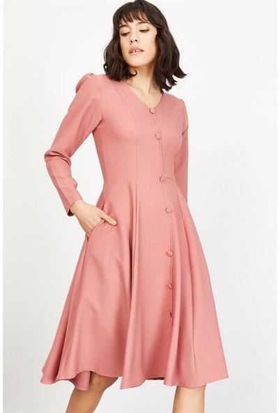 Lafaba Kadın Pudra Önü Düğmeli Kloş Kesim Elbise