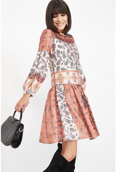 Lafaba Kadın Bej Balon Kollu Desenli Mini Elbise