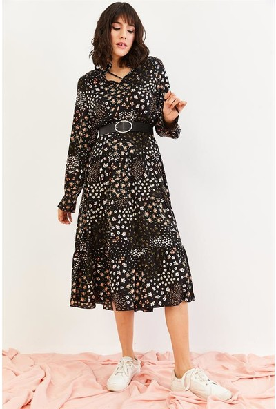 Lafaba Kadın Siyah Desenli Uzun Günlük Elbise