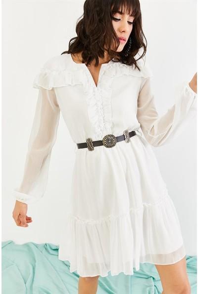 Lafaba Kadın Beyaz Günlük Şifon Elbise