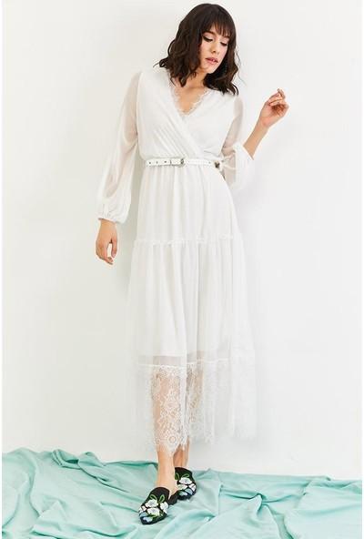 Lafaba Kadın Beyaz Uzun Şifon Elbise