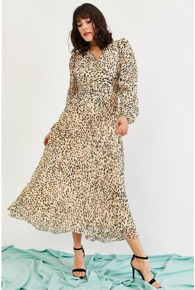 Lafaba Kadın Vizon Desenli Şifon Uzun Elbise