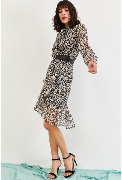 Lafaba Kadın Vizon Desenli Şifon Elbise