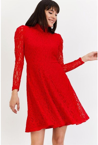 Lafaba Kadın Kırmızı Dantelli Mezuniyet Elbise