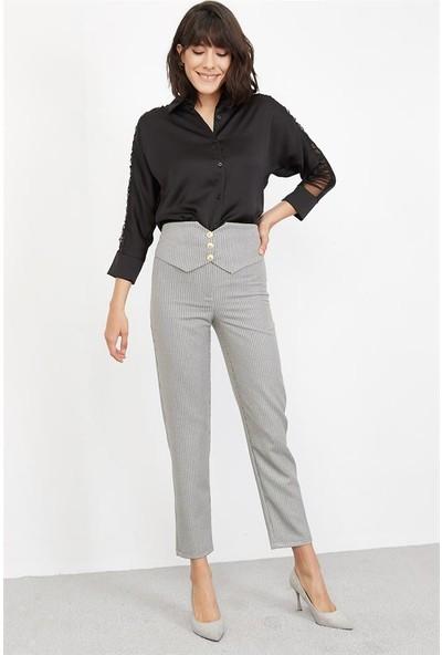 Lafaba Kadın Gri Desenli Pantolon