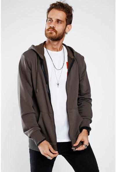 Lafaba Erkek Haki Fermuarlı Basic Sweatshirt