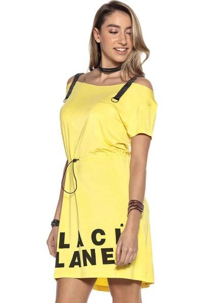 Cipo&Baxx WT273 Taşlı Askılı Yazlık Mini Sarı Elbise S