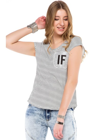 Cipo&Baxx WT244 Siyah Beyaz Çizgili Sırt Dekolteli Kadın Tişört XL