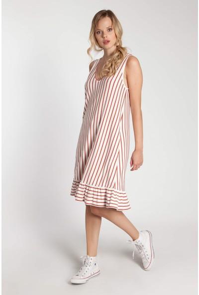 Bexy Mabel - Kırmızı Çizgili Askılı Elbise L
