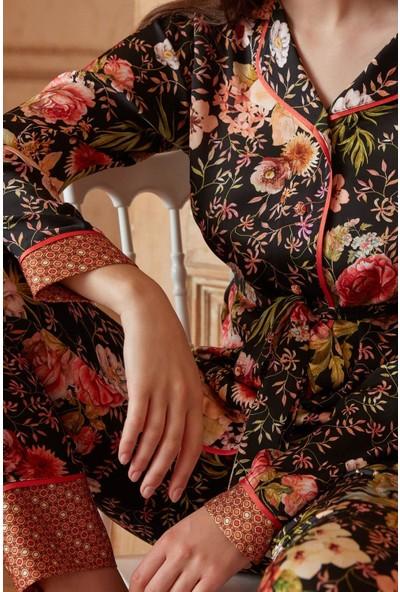 Miss Loren Düğmeli Dar Paça V Yaka Kadın Pijama Takımı 1801