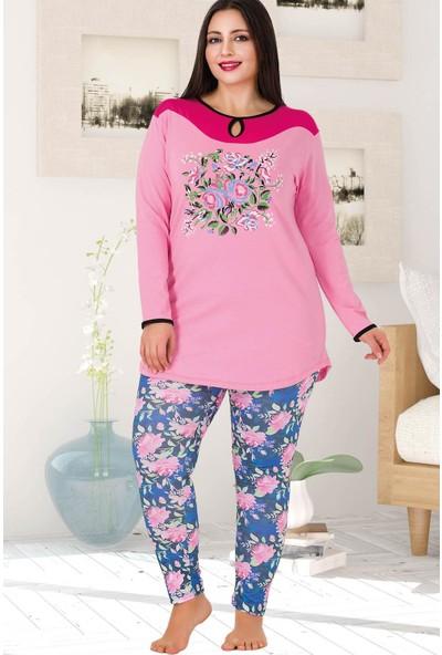 Lady Lingerie Yuvarlak Yaka Askılı Çiçekli Kadın Pijama Takımı 188
