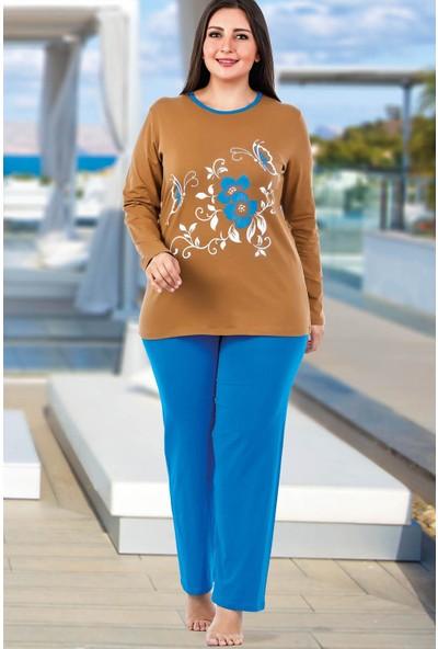 Lady Lingerie Yuvarlak Yaka Çiçekli Kadın Pijama Takımı 145