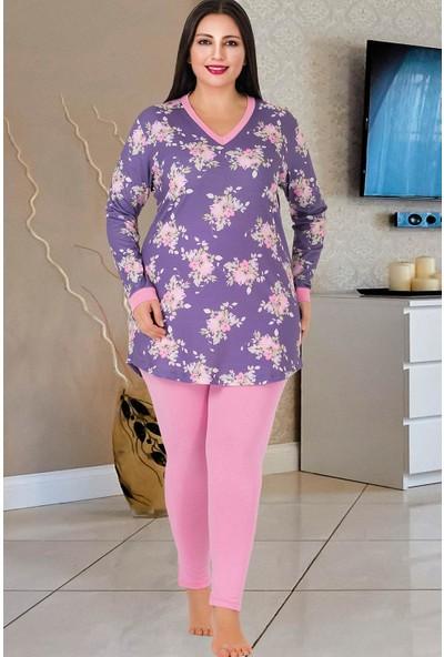 Lady Lingerie V Yaka Çiçekli Askılı Kadın Pijama Takımı 187