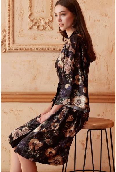Miss Loren Volanlı Fakir Kol Kimono Yaka Kadın Sabahlık 1819