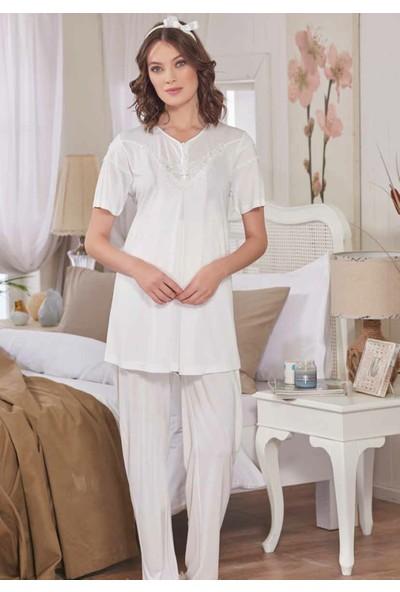 Emose 3940 Örme Dantel Lohusa Pijama Takım