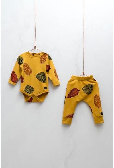 Moi Noi Desenli Zıbınlı Unisex Bebek Alt Üst 2'li Pamuklu Uzun Kollu Takım 0 - 3 Ay