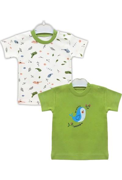 By Leyal For Kids Erkek Bebek Kuş Detaylı 2'li T-Shirt Takım-4311