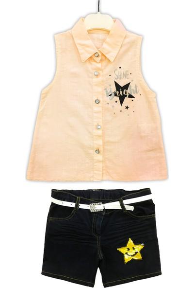 By Leyal For Kids Kız Çocuk Shine Yıldız Detaylı Gömlek Ve Kot Etek Takım-9243