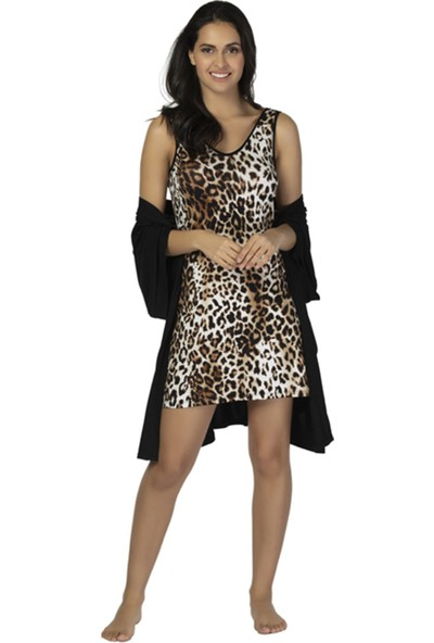 u&me Leopard Casual Kadın Gecelik