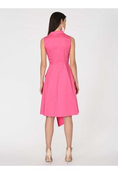 Roman Kadın Asimetrik Pembe Elbise-Y1911115-038