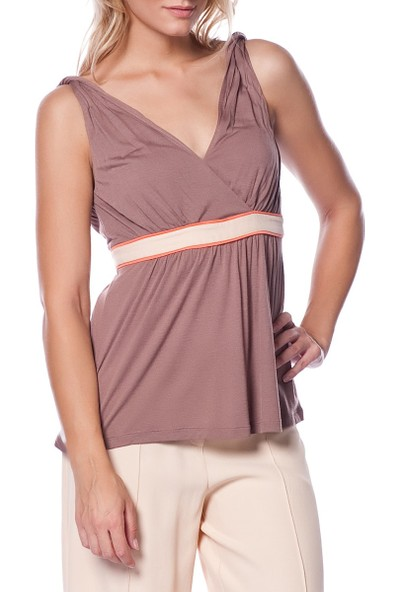 Roman Kadın Askılı Kahverengi Bluz-Y1343003-005