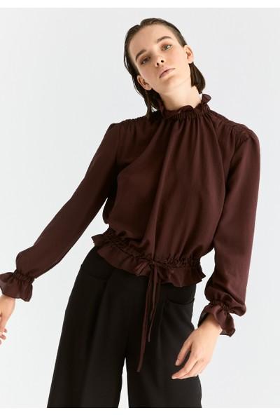 Roman Kadın Beli Lastikli Bordo Bluz-K2013079-008