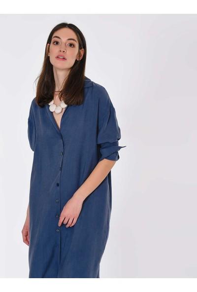 Roman Kadın Bol İndigo Elbise-Y1911135-043